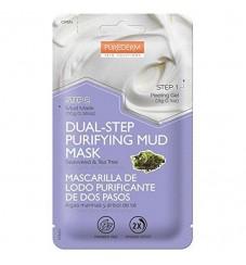PUREDERM Почистваща двуфазна кална маска за лице с водорасли и чаено дърво