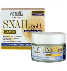 Victoria Beauty Snail Gold Избелващ крем за лице с охлювен екстракт и арганово масло