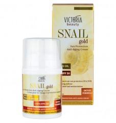 Victoria Beauty Snail Gold Слънцезащитен крем за лице с охлювен екстракт и арганово масло