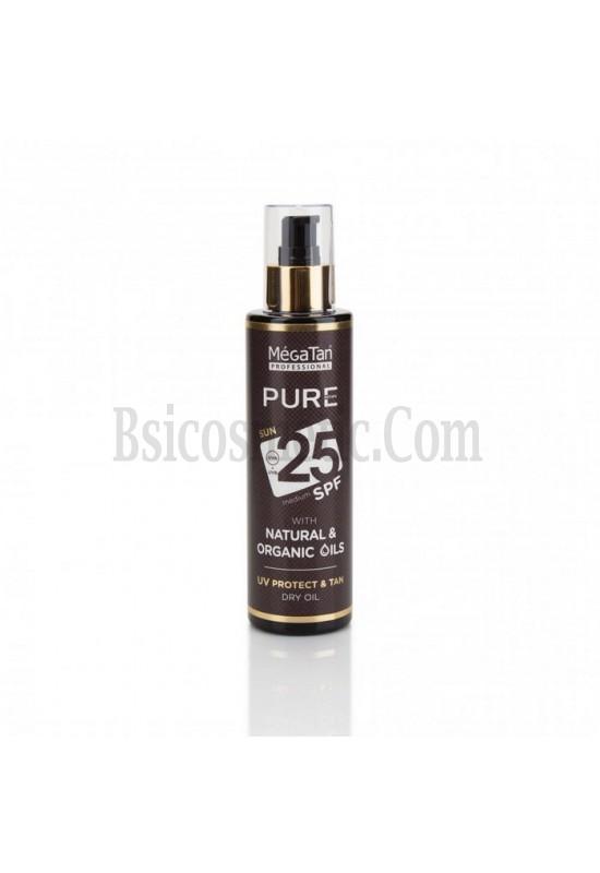 Слънцезащитно олио SPF25 MegaTan Pure с натурални масла
